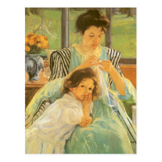 Young Mother Sewing by Mary Cassatt Postcards