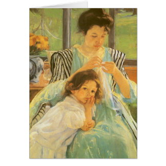 Young Mother Sewing by Mary Cassatt, Vintage Art Card