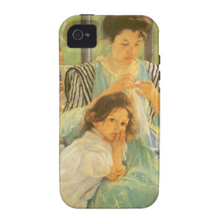 Young Mother Sewing by Mary Cassatt, Vintage Art Vibe iPhone 4 Cases