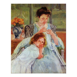 Young mother sewing by Mary Stevenson Cassatt Poster
