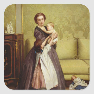 Young Mother with her Children in a Salon Stickers