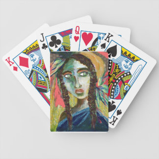Young Native American Woman with Feathers Bicycle Playing Cards