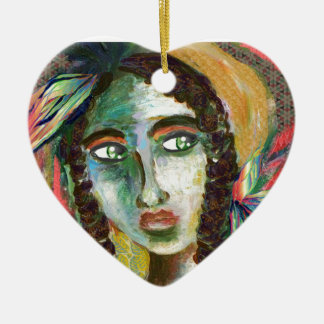 Young Native American Woman with Feathers Ceramic Heart Ornament