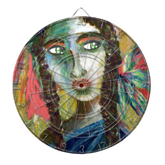 Young Native American Woman with Feathers Dartboard