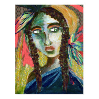 Young Native American Woman with Feathers Postcard
