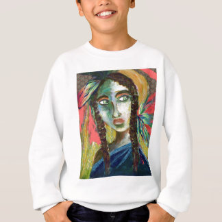 Young Native American Woman with Feathers Sweatshirt