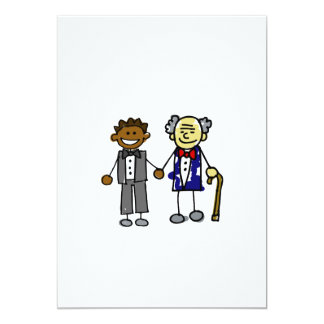 """Young Old Back Asian Couple 5"""" X 7"""" Invitation Card"""