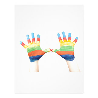 Young pair of painted hands customized letterhead