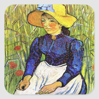Young Peasant Girl by Vincent van Gogh 1890 Square Stickers