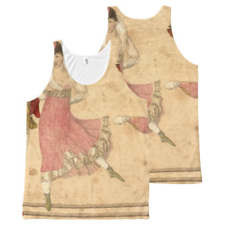 Young People Dancing and Singing, vintage drawing All-Over-Print Tank Top