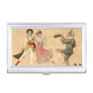 Young People Dancing and Singing, vintage drawing Business Card Holder