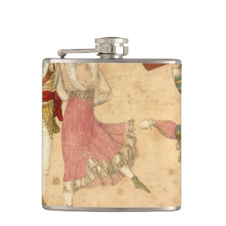 Young People Dancing and Singing, vintage drawing Flasks