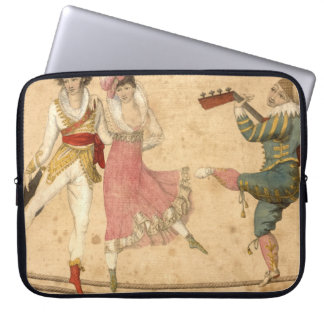 Young People Dancing and Singing, vintage drawing Laptop Sleeve