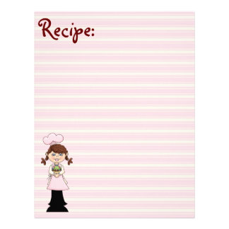 Young Pink Cook Recipe Paper Personalized Letterhead