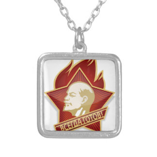 Young Pioneers Lenin Ленин Communist Soviet Union Silver Plated Necklace