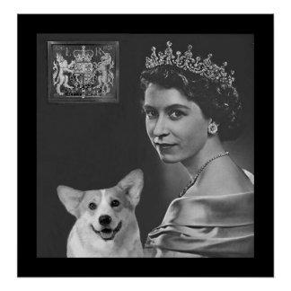 Young Queen Elizabeth II and corgi dog Poster