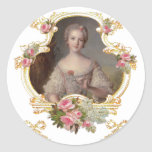 Young Queen Marie Antoinette Pink Roses Cards Round Stickers