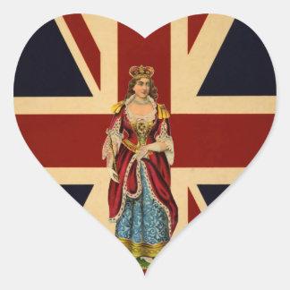 Young Queen Victoria British Scrap piece design Heart Sticker