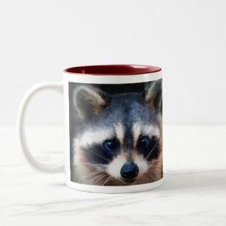 """Young Raccoon Portrait"" Two-Tone Coffee Mug"