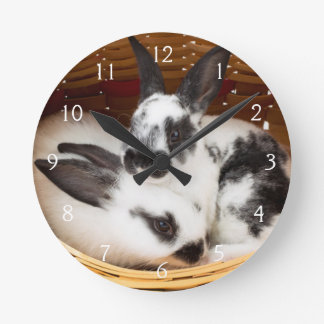 Young Rex rabbits in Easter basket 2 Round Clock