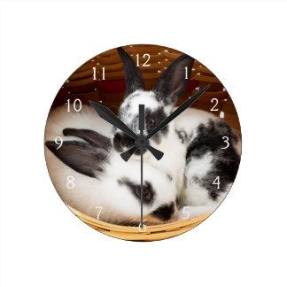 Young Rex rabbits in Easter basket 2 Wallclocks