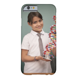 Young schoolgirl holds a colorful model barely there iPhone 6 case