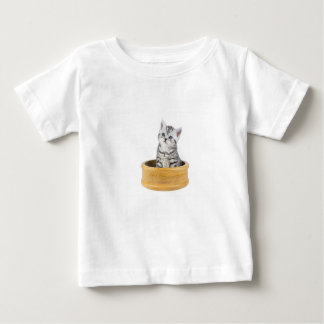 Young silver tabby cat sitting in wooden bowl baby T-Shirt