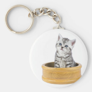 Young silver tabby cat sitting in wooden bowl basic round button keychain