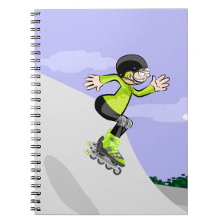 Young skate on wheels conquering the incline notebooks