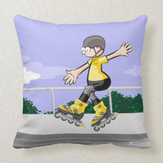 Young skate on wheels dancing in the air throw pillow