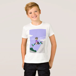 Young skate on wheels gives a great extreme jump T-Shirt