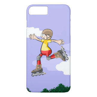 Young skate on wheels giving a great jump Case-Mate iPhone case