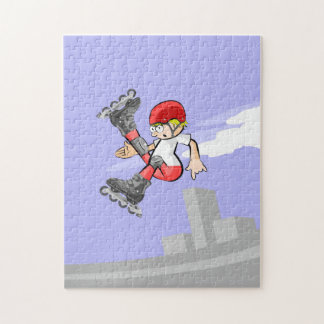 Young skate on wheels giving a jump with pirouette jigsaw puzzle