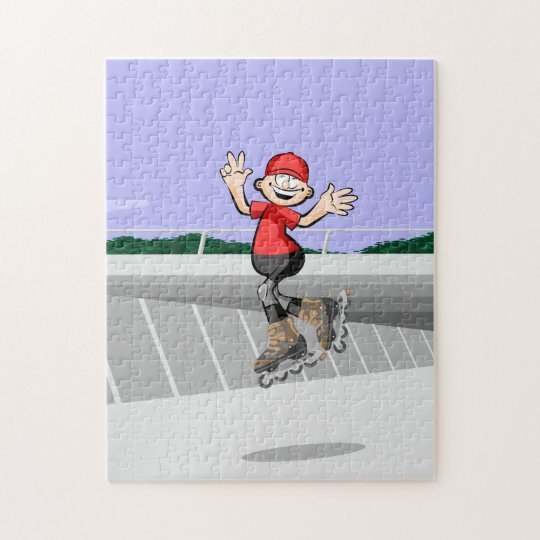 Young skate on wheels giving a triple jump jigsaw puzzle