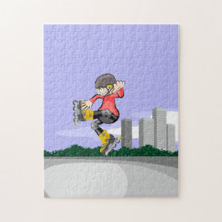 Young skate on wheels giving an funny jump jigsaw puzzle