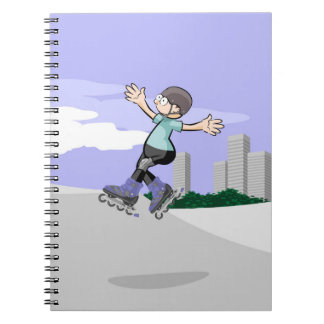 Young skate on wheels in the incline being notebooks
