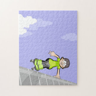 Young skate on wheels jumping an incline jigsaw puzzle
