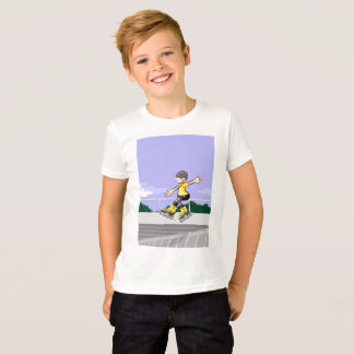 Young skate on wheels jumping by far style T-Shirt
