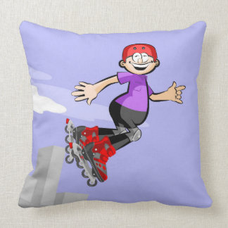 Young skate on wheels jumping gladly throw pillow