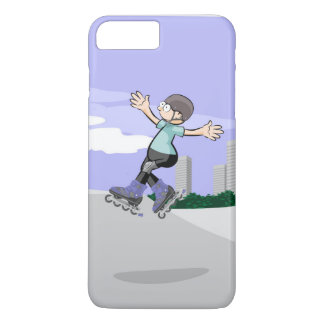 Young skate on wheels jumping in the incline iPhone 8 plus/7 plus case