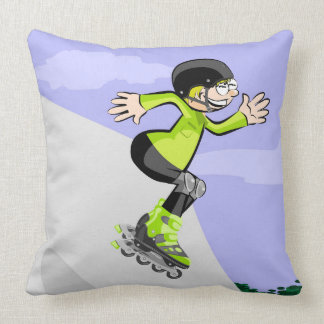 Young skate on wheels jumping in the incline throw pillow