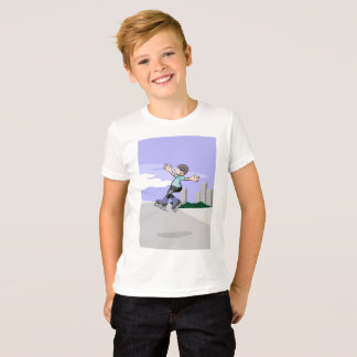 Young skate on wheels jumping in the street T-Shirt