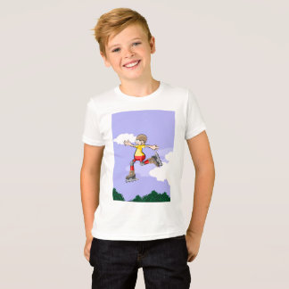 Young skate on wheels jumping with brown helmet T-Shirt