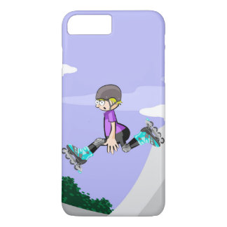 Young skate on wheels jumping with skill iPhone 8 plus/7 plus case