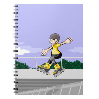 Young skate on wheels jumping with skill spiral notebook