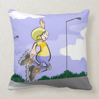 Young skate on wheels jumping with skill throw pillow