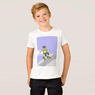 Young skate on wheels lowering an edge T-Shirt