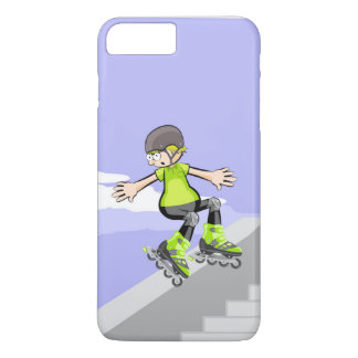 Young skate on wheels lowering by a wall iPhone 8 plus/7 plus case