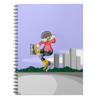 Young skate on wheels making a great pirouette notebooks