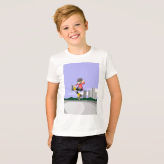 Young skate on wheels making a great pirouette T-Shirt